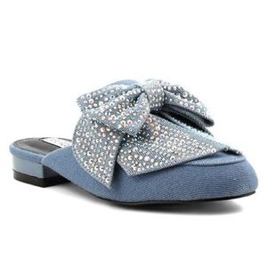 Shoes - Denim jeweled bow mules